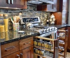 Kitchen, Charming Wooden Kicthen Cabinet With Black Granite Countertop Design Ideas: Kitchen Design Ideas With Granite Countertops