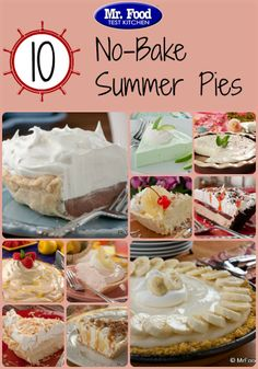10 No-Bake Summer Pies - Keep the house cool this summer with some creamy pies for dessert! Take your pick of a variety of flavors, including chocolate, banana, pink lemonade, key lime, and more. summer pies, dessert
