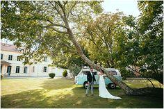 Wedding camper van mint green  | Image by Maison Pestea, read more http://www.frenchweddingstyle.com/vintage-diy-wedding-basque-country/