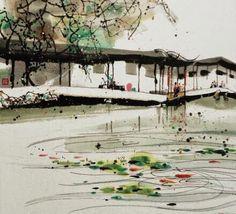 A waterside veranda in Suzhou garden residence -- ink painting by contemporary Chinese artist Wang Yuyuan