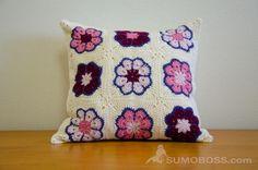 crochet flower motif cushion