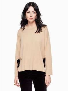 kate spade Velvet Tie Swing Sweater $198 I really like the black on black color, but the model is too grim to pin.