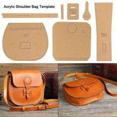 Leather Craft Clear Acrylic shoulder bag handbag Pattern Stencil Template DIY diy bag and purse Leather Diy Crafts, Leather Gifts, Leather Bags Handmade, Leather Projects, Leather Craft, Sewing Leather, Leather Purses, Leather Handbags, Leather Bag Pattern