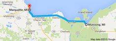 From: Munising, MI To: Marquette, MI Taquamenon Falls, Whitefish Point, Pictured Rocks National Lakeshore, Picture Rocks, Grand Island, Bucket, Train, Map, Location Map