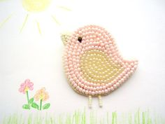 brooch Pink bird chick pin badge bead embroydery beadwork handmade, gift for girl Pink bird kids brooch Easter chick gift for girl by Kamart, lily Easter lily may refer to: Bead Embroidery Jewelry, Beaded Embroidery, Hand Embroidery, Seed Bead Jewelry, Bead Jewellery, Seed Beads, Beading Patterns, Embroidery Patterns, Seed Bead Patterns