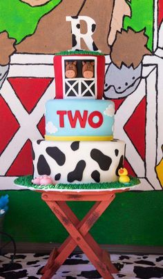 Fun cake at an animal farm birthday party! See more party ideas at CatchMyParty.com!