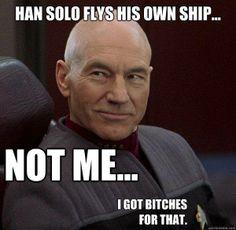 Picard, I'm sorry I find this hilarious! Star Trek Meme, Star Wars, Starship Enterprise, Star Trek Ships, Star Trek Universe, Geek Humor, Sci Fi Movies, To Infinity And Beyond, Funny Memes