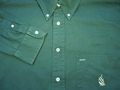 Nautica Mens Cotton Shirt L Large Dark Green Long Sleeve Button Front Logo EUC