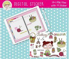 Digital Sticker digitales Aufkleber-Set Stricken   Etsy Cover Design, Poster, Knitting, Digital, Etsy, Drawing Hands, Binder, Decals, Cards