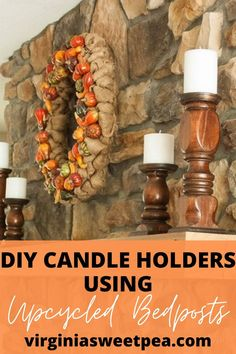 Learn how to make candle holders using upcycled bedposts. via @spaula Diy Candle Holders, Diy Candles, Repurposed, Upcycle, Beef, Projects, Food, Meat, Log Projects