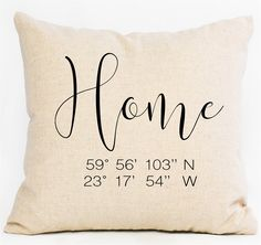 Personalized Latitude Longitude pillow covers are THE perfect on trend gift or…