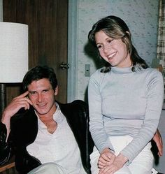 Harrison Ford & Carrie Fisher on the set of, 'The Empire Strikes Back', 1980 -