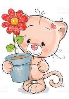 Um gatinho com flor vetor e ilustração royalty-free royalty-free