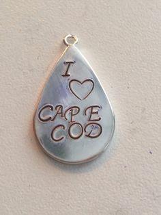 Custom stamped silver plated steal teardrop pendant. Pendant measures 24x16mm.