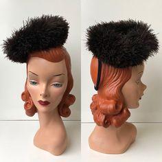 1940 s Rich Mocha Brown Ostrich Feather Swirl Muff Tilt Perch Cocktail Hat 36f64e44718c