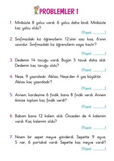1st Grade Homework, Kids Homework, Learn Turkish Language, 1st Grade Math Worksheets, Math Sheets, Preschool Math, Math Lessons, Grade 1, Special Education