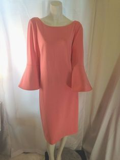 8c9d3082e74 Jessica Howard Jessica H Womens Salmon Pink Dress w Bell Sleeves Size 14