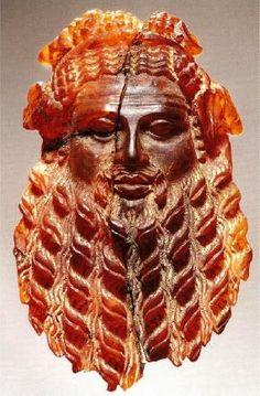 Amber mask of Dionysos, Roman, 1st Century