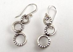 Sterling Three Circle Earrings on French by katherinefathisilver