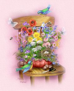Spring Flowers by Penny Parker spring flowers art painting season happy spring spring greeting Happy Spring, Spring Time, Penny Parker, Bird Art, Spring Flowers, Cut Flowers, Blue Bird, Flower Art, Illustration Art