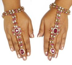 Hath Phool Bridal Jewelry Pink White Stone Panja Gold by Abhusana