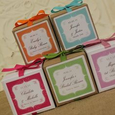 Vintage Bakeshop: Their gourmet cupcake mixes are packaged in cute boxes with personalized labels. The mixes are available in four flavors: vanilla, chocolate, red velvet or champagne. With each order, you can customize the label design & color, the cupcake mix flavor, the box color, and even the color of ribbon that's tied around each box.