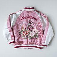 Vintage Toddler Kids size Disney TDL Tokyo Disneyland Minnie Mouse Peony Botan Flowers Girly Pink Silk Sukajan Children's Jacket