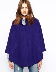 Helene Berman Collarless Cape with Concealed Button Front