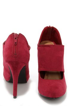 Jitterbug Burgundy Suede High Heel Shooties