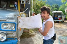 This is how Richard Hammond dries his wet clothes when travelling through Burma. www.thefilmfixer.com