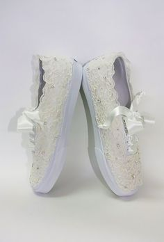 Wedding Vans Lace Vans Bridal Tennis Shoes Lace by Parisxox Wedding Tennis Shoes, Wedding Vans, Diy Wedding Shoes, Wedding Sneakers, Trendy Wedding, Shoes Tennis, Wedge Wedding Shoes, Wedding Ideas, Glitter Shoes