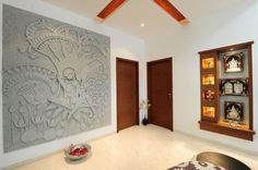 Discover small pooja room designs for your house, add a pooja mandap or a shelf. These pooja rooms can be designed in any corner of your house or apartment. Pooja Room Door Design, Foyer Design, Entrance Design, Wall Design, Lobby Design, Indian Home Interior, Indian Interiors, Indian Home Decor, Temple Design