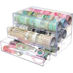 This washi tape storage cube is so beautiful. It can hold up to 150 rolls of washi. Craft Room Storage, Office Storage, Cube Storage, Craft Organization, Drawer Storage, Storage Ideas, Organizing Crafts, Ribbon Organization, Scrapbook Organization