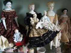Antique German China and Parian dolls