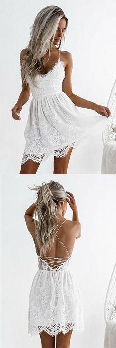 Prom Dresses 2018 #PromDresses2018, Lace White Prom dresses #LaceWhitePromdresses, Prom Dresses A-Line #PromDressesA-Line, Custom Prom Dresses #CustomPromDresses, Prom Dresses Lace #PromDressesLace