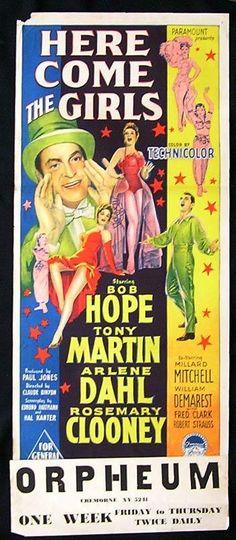 HERE COME THE GIRLS Movie Poster 1953 BOB HOPE Richardson Studio RARE daybill