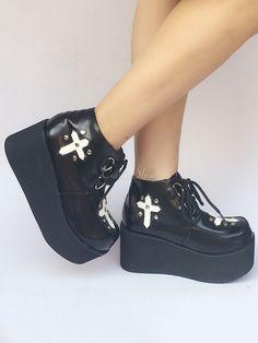 d7440a4a2e98 Lolitashow Black Lolita Shoes Platform Lace Up Gothic Lolita Pumps -  Lolitashow.com Gothic Shoes