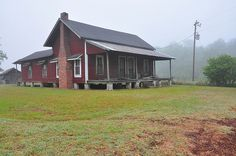 Irwin County GA Walker Road Red Tar Paper Farmouse Vernacular Architecture Foggy Morning Picture Image Photograph © Brian Brown Vanishing South Georgia USA 2013