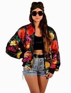 Vintage 90s Multicolor Floral Silk Bomber Jacket by saltwatergypsy