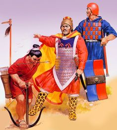 Chinese general with crossbowman and swordsman during the Zhou Dynasty, Ancient China