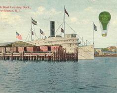 New York Boat Leaving Dock Providence Rhode Island Paper Ephemera 1912 Vintage Postcard by attictreasuresbyjudy. Explore more products on http://attictreasuresbyjudy.etsy.com