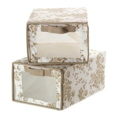 Ikea Garnityr Shoe Box Closet Organizer Storage Floral Beige Set of 2 >>> You can get additional details at the image link.