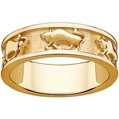 Sterling Silver or Gold over Sterling Textured Taurus Zodiac Band (Gold over Sterling - Size 5), Women's, Yellow (solid)