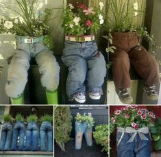 Jeans Planters - Tutorial showing how to recycle denim jeans into pot plant holders and planters.