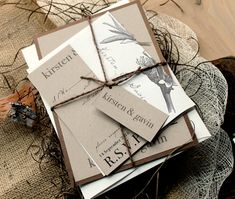 Rustic Magnolia - Rustic, Chic, & Elegant Wedding Invitations, Brown Twine, Ivory - Purchase for a Sample. $6.00, via Etsy.