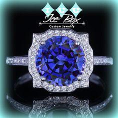 Cultured Kashmir Blue Sapphire Engagement Ring 8mm, 2ct Cultured Kashmir Blue Sapphire in a 14k White Gold Diamond Halo Setting