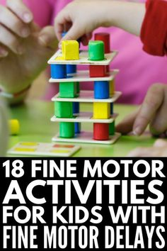This collection of activities that develop fine motor skills is perfect for strengthening muscles in the fingers, hands, and wrists for handwriting success! Activities For Autistic Children, Fine Motor Activities For Kids, Motor Skills Activities, Gross Motor Skills, Sensory Activities, Classroom Activities, Preschool Activities, Physical Activities, Preschool Fine Motor Skills