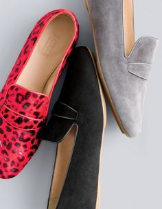 OCT '15 Style Guide: J.Crew women's Collection Georgie penny loafers in calf hair and Georgie suede penny loafers.