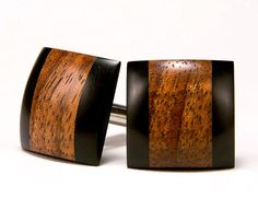 Wood Cufflinks Hawaiian Koa Ebony Wooden Cufflinks by bcrdesigns