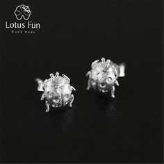 Promotion price Lotus Fun Real 925 Sterling Silver Natural Creative Handmade Fine Jewelry Cute Ladybird Beetle Stud Earrings for Women Brincos just only $27.80 with free shipping worldwide  #finejewelry Plese click on picture to see our special price for you